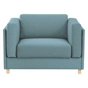 Colombo Teal Blue Fabric Armchair - 76 x 113cm
