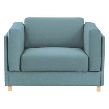 Colombo Teal blue fabric armchair sofa bed
