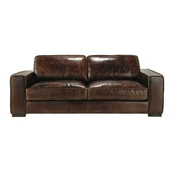 COLONEL 3 seater leather vintage sofa in brown