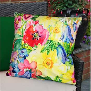 Colourful Waterproof Fibre Filled Outdoor Garden Cushion for Chairs and Benches - Painterly Floral