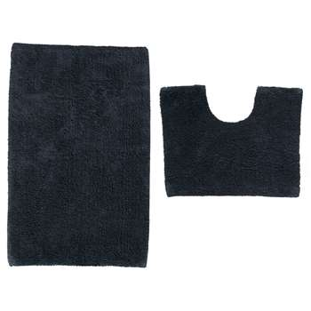 ColourMatch Bath and Pedestal Mat Set - Black 50 x 80cm