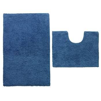 ColourMatch Bath and Pedestal Mat Set - Ink Blue 50 x 80cm
