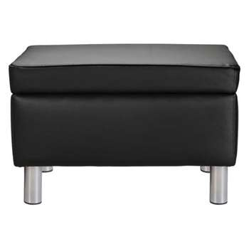 ColourMatch Moda Leather Effect Footstool - Jet Black