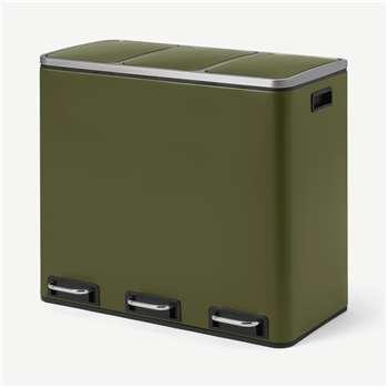 Colter 54L Soft Close Triple Recycling Pedal Bin, x3 18L, Forest Green (H56 x W61 x D34cm)