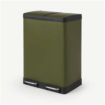 Colter 60L Soft Close Double Recycling Pedal Bin x2 30L, Forest Green (H67 x W49 x D39cm)