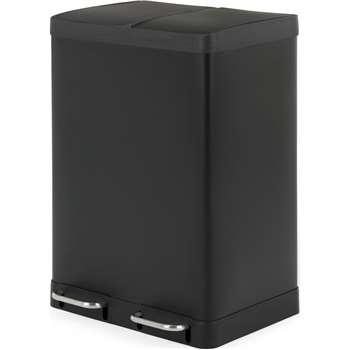 Colter 60L, Soft Close Double Recycling Pedal Bin X2 30L, Matt Black (H67 x W49 x D39cm)
