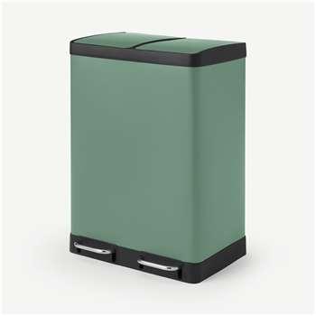 Colter 60L, Soft Close Double Recycling Pedal Bin x2 30L, Sage Green (H67 x W49 x D39cm)