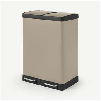 Colter 60L, Soft Close Double Recycling Pedal Bin, x2 30L, Sand (H67 x W49 x D39cm)