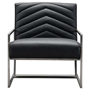 Coltman Armchair Black Faux Leather (H95 x W67 x D87cm)