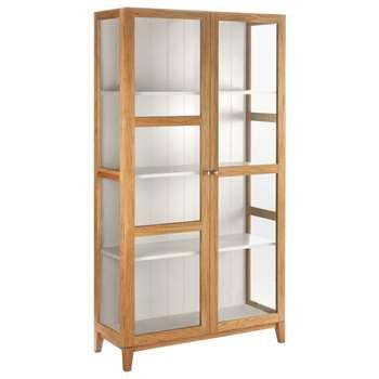 Colton Oak and Linen White Glass Cabinet (H186 x W100 x D40cm)