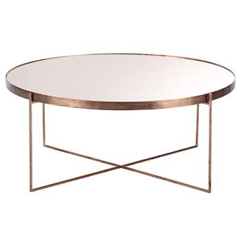 COMETE COMÈTE copper-plated metal mirror coffee table D 83cm