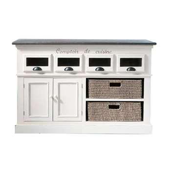 COMPTOIR DES ÉPICES Paulownia wood counter unit in white (H85 x W130 x D50cm)