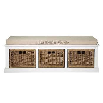 COMPTOIR DES ÉPICES White storage bench and linen-coloured cushion Comptoir des (45 x 130cm)