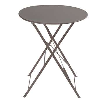 CONFETTI Metal folding garden table in taupe D 58cm