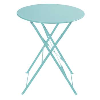 CONFETTI Metal folding garden table in turquoise D 58cm