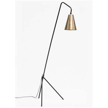 Conical Brass Floor Lamp - Brass Matte Black (H170 x W40 x D52cm)
