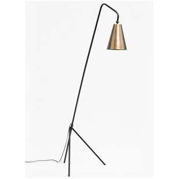 Conical Brass Floor Lamp - Brass Matte Black (H170 x W40 x D52cm)