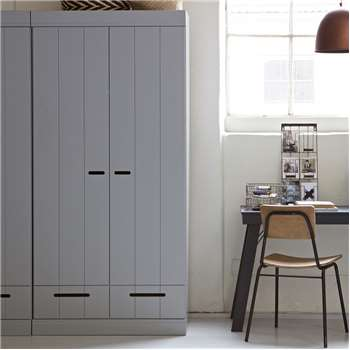 Connect Contemporary 2 Door Cupboard Cabinet with Storage in Concrete Grey 195 x 94cm
