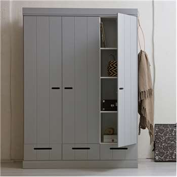 Connect Contemporary 3 Door Cupboard Cabinet with Storage in Concrete Grey 195 x 140cm