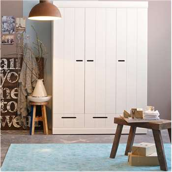 Connect Contemporary 3 Door Cupboard Cabinet with Storage in White 195 x 140cm