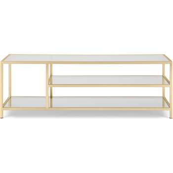 Connelly Coffee Table, Brass & Smoked Glass (H41 x W120 x D50cm)