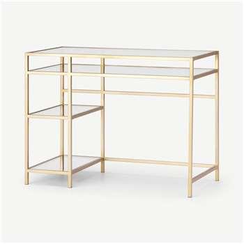 Connelly Desk, Brass & Smoked Glass (H77 x W100 x D50cm)