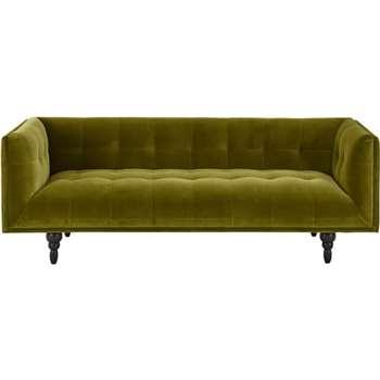 Connor 3 Seater Sofa, Olive Cotton Velvet (77 x 210cm)