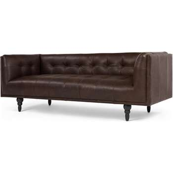 Connor 3 Seater Sofa, Vintage Brown Premium Leather (88 x 210cm)
