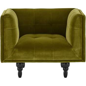 Connor Armchair, Olive Cotton Velvet (77 x 96cm)