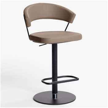 Connubia by Calligaris New York Adjustable Gas Lift Bar Chair, Black Base, Black Base/Distressed Brown (H91 x W57 x D55cm)