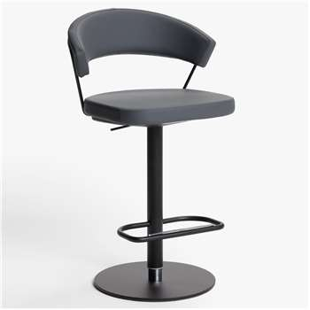 Connubia by Calligaris New York Adjustable Gas Lift Bar Chair, Black Base, Black Base/Grey (H91 x W57 x D55cm)