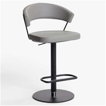 Connubia by Calligaris New York Adjustable Gas Lift Bar Chair, Black Base, Black Base/Taupe (H91 x W57 x D55cm)