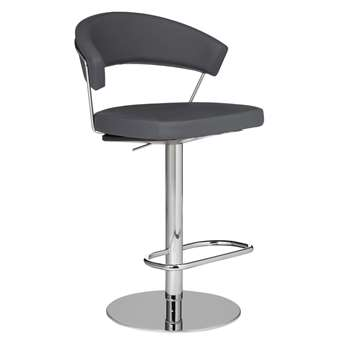 Connubia by Calligaris New York Adjustable Gas Lift Bar Chair, Grey (H91 x W57 x D55cm)