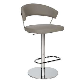 Connubia by Calligaris New York Adjustable Gas Lift Bar Chair, Taupe (H91 x W57 x D55cm)