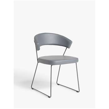 Connubia by Calligaris New York Leather Dining Chair, Grey (H75 x W57 x D52cm)