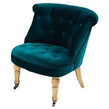 CONSTANTIN Teal blue tufted velvet armchair (70 x 71cm)