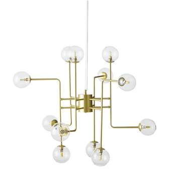CONSTELLATION - Gold Metal and Glass 12-Globe Pendant (H68 x W82 x D73cm)