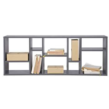 Contemporary Display Cabinet in Steel Grey Pine 50 x 130cm