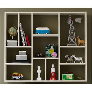 Contemporary Display Cabinet in White Pine 94 x 110cm