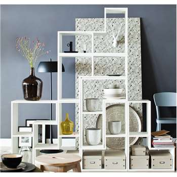 Contemporary White Display Cabinet in Tetris Shape 54 x 80cm