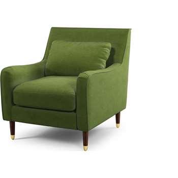 Content by Terence Conran Oksana Armchair, Plush Vine Green Velvet with Dark Wood Brass Leg (H91 x W90 x D98cm)