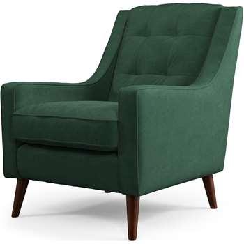 Content by Terence Conran Tobias, Armchair, Plush Hunter Green Velvet, Dark Wood Leg (H86 x W71 x D79cm)