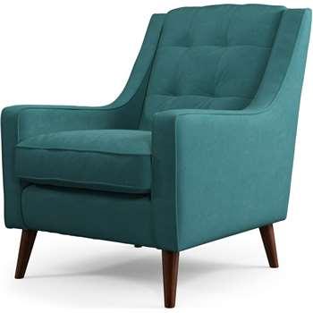 Content by Terence Conran Tobias, Armchair, Plush Kingfisher Blue Velvet, Dark Wood Leg (H86 x W71 x D79cm)