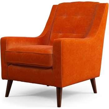 Content by Terence Conran Tobias, Armchair, Plush Paprika Velvet, Dark Wood Leg (H86 x W71 x D79cm)