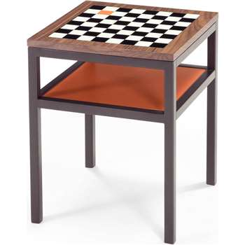 Contrast Chess Side Table, Walnut and Orange (50 x 40cm)