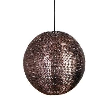 Cooper Round Pendant Lamp in Sparkling Copper Finish - Large (Diameter 40cm)