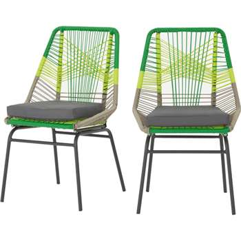 Copa outdoor set of 2 dining chairs, citrus green (90 x 57cm)