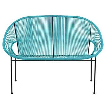 COPACABANA 2/3-Seater Garden Bench in Blue Resin String and Black Metal (H81 x W118 x D75cm)