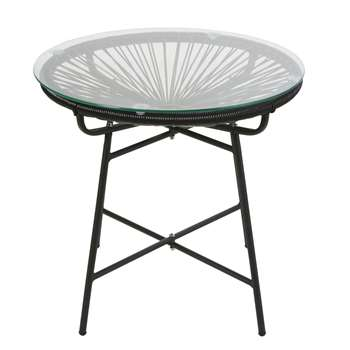COPACABANA Black Resin and Glass Garden Coffee Table (H50 x W52 x D52cm)