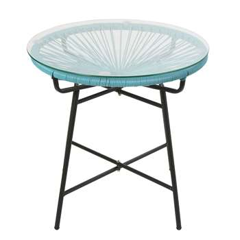 COPACABANA Blue Resin and Glass Garden Coffee Table (H50 x W52 x D52cm)